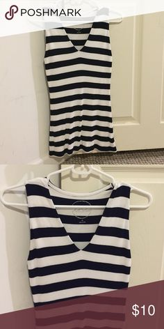 I.N.C. Navy and White Striped Tank Nautical tank, perfect for the summer on the water or to layer with a cardigan! Navy and white stripes / size medium / 97% rayon & 3% spandex INC International Concepts Tops Tank Tops