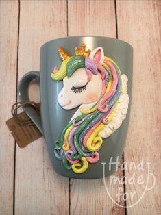 Unicorn Mug, Сute horse, Mug with unicorn, Horse mug Polymer Clay Disney, Polymer Clay Dragon, Polymer Clay Dolls, Polymer Clay Crafts, Coffee Cup Crafts, Clay Fairy House, Unicorn Painting, Clay Cup, Unicorn Crafts