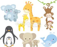 Vector illustration of animal and baby including koalas, penguins, giraffes, monkeys, elephants, whales.