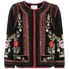 Velvet Adara Beaded Velvet Blazer (3.470 NOK) ❤ liked on Polyvore featuring outerwear, jackets, blazers, tops, coats, blazer, black, blazer jacket, beaded blazer and velvet blazer