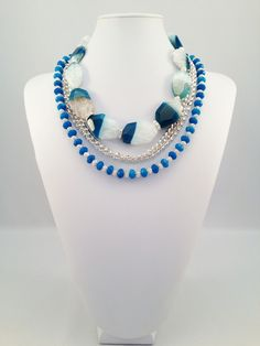K by Design Prima Donna Collection spring/summer 2013 #blueagate #blue #jewelry #summer #spring #2013 #fashion #silver #necklace #chain