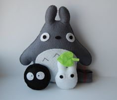 Totoro Mini Totoro and Susuwatari handmade felt by Mielamiela, $18.50