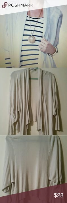"""Cabi moon dust open cardigan Linen/rayon blend,  high/low waterfall flow front,  raglan sleeve,  shoulders 16-17"""", length collar to hem 21"""", very good condition,  great staple piece cabi Sweaters Cardigans"""