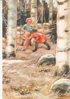 Rudolf Koivu - Lapset valkovuokkoja poimimassa. -