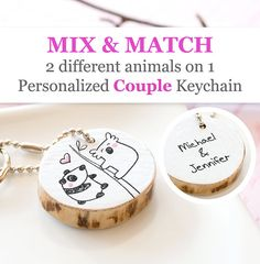 CUSTOM Animal Duo COUPLE Keychain Personalized Gift for Boyfriend Girlfriend Anniversary Engagement Love Cute Reclaimed Wood Eco-Friendly