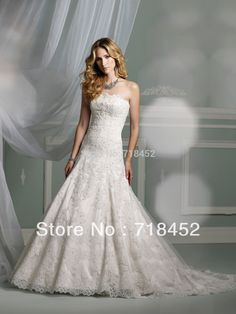 Hot Sale A Line Lace Wedding Dress with Crystal Strappless off the Shoulder Free Shipping JB311
