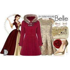 Belle by leslieakay on Polyvore featuring mode, French Connection, Jimmy Choo, Anndra Neen, Kenneth Jay Lane, Oscar de la Renta, disney, disneybound, disneycharacter and holidaystyle