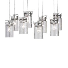 allen + roth Vallymede 25.47-in Brushed Nickel Barn Hardwired Multi-Light Clear Glass Jar Pendant