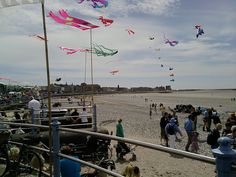 Kite Festival of Morecambe beach, west end side