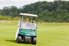 A golf buggy is a fun way to zip around on your wedding day. If you're tying the knot at a sporting wedding venue, ask if they have any you can use for your pictures. Golf Wedding, Wedding Cars, Wedding Venues, Wedding Car Decorations, Wedding Transportation, Tie The Knots, On Your Wedding Day, Big Day, Golf Clubs
