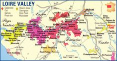 Loire Valley France Wine Map | Vineyards to visit.