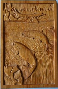 Salmon relief carving
