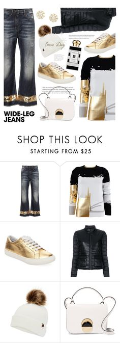 """""""Flare Up: Wide-Leg Jeans"""" by ames-ym ❤ liked on Polyvore featuring Dolce&Gabbana, Oscar de la Renta, Marc Jacobs, Save the Duck, Keds, Marni, Jo Malone, Bony Levy, denimtrend and goldsneakers"""