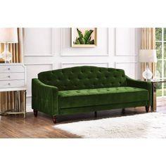 Amazon.com: Novogratz Vintage Tufted Sofa Sleeper II (Green Velour) (Green Velour): Kitchen & Dining