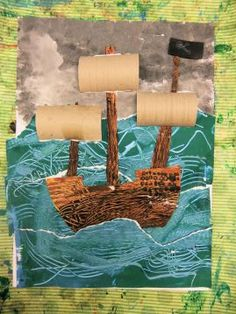 Pirate Ships in Stormy Seas: Painted Paper Texture Collage (October – Hannah's Art Club Pirate Ship Craft, Kids Pirate Ship, Pirate Crafts, Pirate Art, Pirate Theme, Pirate Ships, Pirate Birthday, Pirate Activities, Art Activities