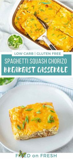Spaghetti Squash Chorizo Breakfast Casserole - FIXED on FRESH Spaghetti Squash Chorizo Breakfast Casserole is a low carb breakfast recipe that is easy to meal prep or a great meal prep breakfast. This breakfast recipe is also gluten free, low calorie and high in protein. #proteinbreakfast #breakfastcasserole #glutenfree #keto #lowcarb #mealprep<br> Spaghetti squash and spicy chorizo are the stars in this easy to meal prep, low carb breakfast recipe. This cheesy egg dish is a big hit with the… Chorizo Breakfast, Healthy Breakfast Casserole, Healthy Breakfast Recipes, Best Breakfast, Brunch Recipes, Keto Recipes, Healthy Breakfasts, Turkey Recipes, Breakfast Ideas