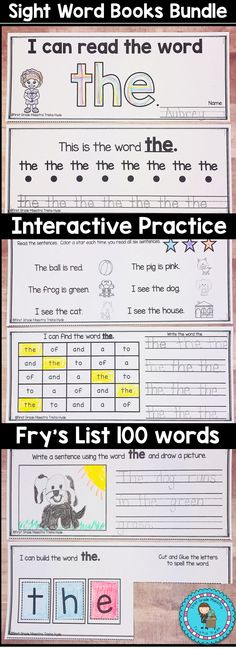 These interactive Sight Word High Fluency Word books make excellent practice for your kindergarten and first grade students. They are high engagement and low prep. These activities are excellent for RTI, Small Groups, Reteaching, Centers, Literacy Stations, and Word Work.  This bundle also includes Color Words and Number words. Click the visit button to see more.