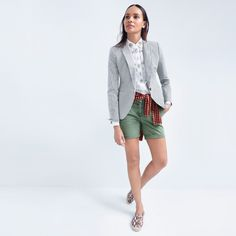 J.Crew Looks We Love: women's Campbell blazer in skinny stripe, Collection Thomas Mason® for J.Crew embellished shirt, Tippi sweater in gingham, harbor short and printed snakeskin leather espadrilles.