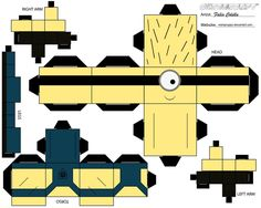 Minions Art | managed to find 2 other minion paper craft templates from cubeecraft