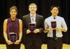 Congratulations to the winners of ACC's 2014 Intra-Collegiate Speech Contest (May 2).  from left: Sumer Sandel (1st place), Paul A. Mosher, Jr. (2nd place) and Daniel Nam (3rd place).