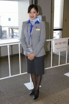 """I'm cuffed behind my back. """"How long do we have to wait, miss? Sensible Shoes, Rock Outfits, Cute Asian Girls, Working Woman, Office Ladies, Flight Attendant, In Pantyhose, Cabin Crew, Costumes For Women"""