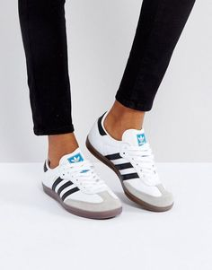 adidas Originals Samba Sneaker In White - Adidas Samba - Ideas of Adidas Samba - adidas Originals Samba Sneaker In White Sneakers Mode, Sneakers Adidas, Best Sneakers, White Sneakers, Sneakers Fashion, Fashion Shoes, Shoes Sneakers, Womens Casual Sneakers, Running Shoes