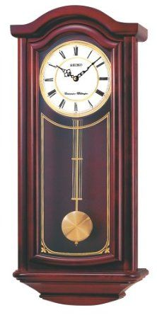 Click Image Above To Buy: Seiko Cherry Wood Finish Pendulum Chiming Wood Wall  Clock   Black Hands   White Dial