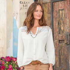 "LACE MOSAIC BLOUSE -- Patched and pieced lace insets in crisp, cotton voile recall vintage quilts in a light and airy, modern interpretation. Machine wash. Imported. Exclusive. Sizes XS (2), S (4 to 6), M (8 to 10), L (12 to 14), XL (16). Approx. 25-1/2""L."