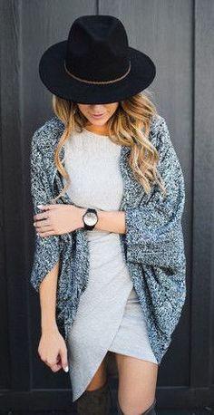 fall fashion oversized gray knit cardigan