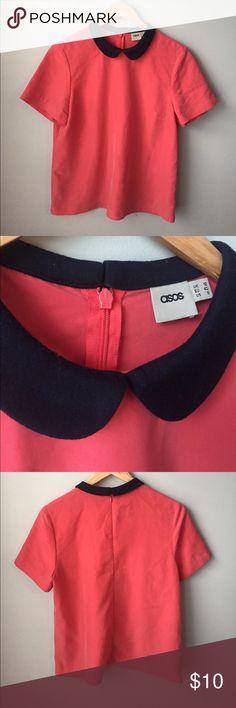 Asos Collared Top Size 12 70% Modal 30% Polyester.  Peter Pan collar.  Zip back. ASOS Tops Blouses