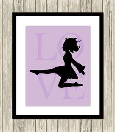Irish dance wall art, little girls room decor, nursery art, Irish dancer, preschool girl art, teen girl wall art, choose your colors by PicabooArtStudio, $10.99