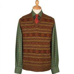 Bark Shetland Fairisle Sleeveless V Neck | Lambswool Knitwear | Knitwear