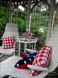Our Gazebo (Garden of Len & Barb Rosen) I love her pillows Patriotic Party, Patriotic Decorations, House Decorations, Outdoor Curtains, Outdoor Chairs, Outdoor Decor, 4th Of July Celebration, Fourth Of July, Outdoor Spaces