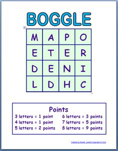 Free Boggle Templates for Your Classroom