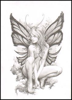 best fairies images in fairy art, witches, fantasy art - fantasy fairy drawings Badass Drawings, Fairy Drawings, Pencil Drawings, Pencil Art, Elfen Fantasy, Fantasy Art, Elfen Tattoo, Fairy Tattoo Designs, Fairy Coloring Pages