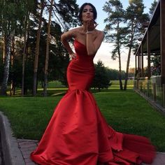 Mermaid Prom Dress,Red Prom Dresses