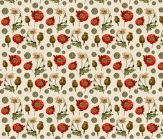Scientific Poppies fabric by gingerageous on Spoonflower - custom fabric