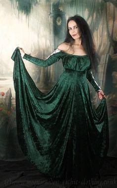 Moonmaiden Gothic Clothing - Esteriel Gown - crushed velvet medieval renaissance gown