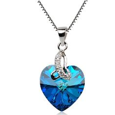 """New Romantic Blue """"Heart Of Ocean"""" Solitaire Gemstone Pendant Woman's Sterling Silver Necklace - USD $68.95"""