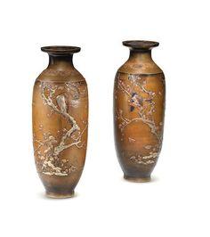 A pair of inlaid baluster bronze vases By Miyabe Atsuyoshi, Meiji era late century Meiji Era, Bond Street, Art Uk, Japanese Art, Metal Art, Metal Working, Vases, Auction, Fine Art