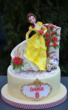Beauty and the Beast cake - cake by Carmen Iordache Beautiful Cake Designs, Beautiful Cakes, Amazing Cakes, Princess Belle Cake, Beauty And Beast Birthday, Dummy Cake, Artist Cake, Disney Desserts, Daisy Cakes