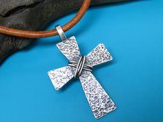 Collar Cruz de mens Mens plata Cruz Mens por TheCaptiveHeart