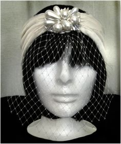 Grace Mezzo Bridal Turban with Chunky Pearl Veil, ivory, bride, vintage, repurposed, handmade, Cosby, floral, 1920s, gatsby, flapper #mildaDesigns #turban #turbans #magic #art #bridal #bride #GreatGatsby #Gatsby #flapper #1920s