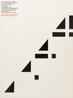 Typografische Monatsblätter, 1962, Issue 4. Cover Design by André Gürtler and Bruno Pfäffli. The TM journal was influential in disseminating Swiss typography to an international audience. This cover design is engaging with the dynamic angle that is built from the positive/negative space of a 4. Really inspiring.