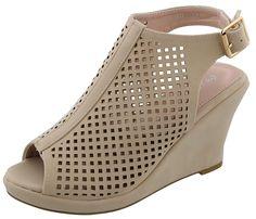 136beb21b48a35 Top Moda Women s Laser Cut Slingback Peep Toe Wedge Bootie Sandal     Visit  the