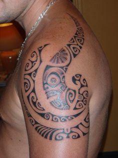 polynesian tattoos for women | Polynesian Tattoo on Shoulder with Tiki Marquesas & for Men by Patu ...