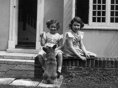 Queen Elizabeth and Princess Margaret as children