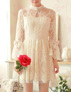 Flare-sleeved Lace Dess - Glitzx
