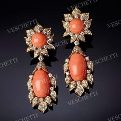 Earrings set with coral and diamonds CORINNE