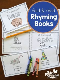 If you're working on rhyming words, these Fold & Read Animal Rhyming Books require no stapling or cutting. Just fold, trace, & read the rhyming words! Find all our printable rhyming Rhyming Preschool, Rhyming Activities, Free Preschool, Preschool Printables, Early Literacy, Preschool Kindergarten, Literacy Centers, Kindergarten Reading Activities, Kindergarten Readiness